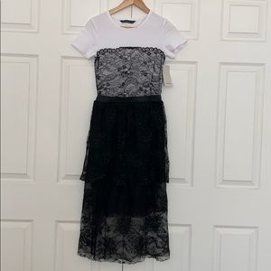 ZARA LACE & BASIC TEE DRESS BNWT